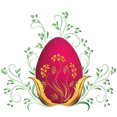 Easter egg and floral ornament Vector