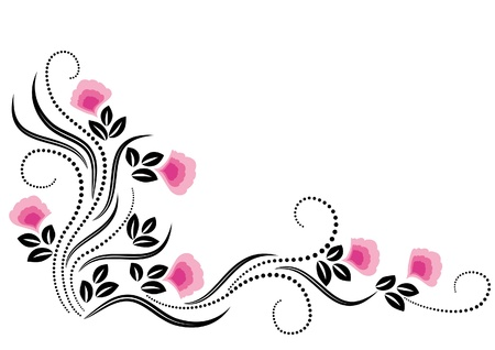 pink swirl: Decorative flowers ornament