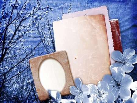 Old grunge paper and photo frame with cherry blossoms Stock Photo - 12809081