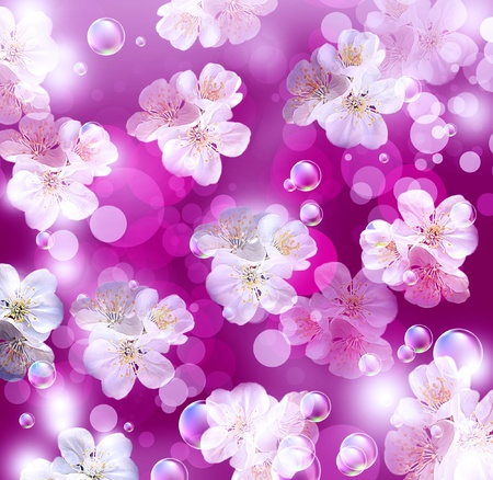 Card with white apple flowers against a background of purple bokeh photo