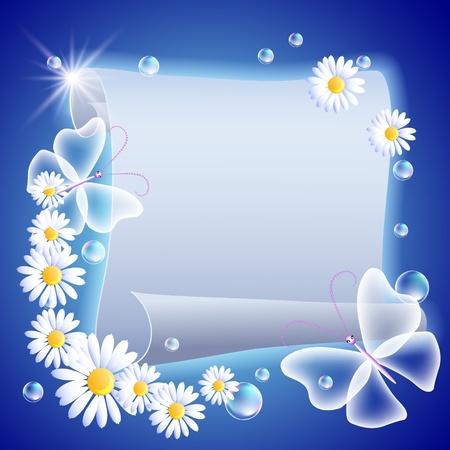 mariposa azul: Pergamino, que brilla intensamente con flores y mariposas Vectores