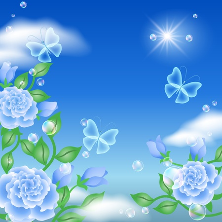 rose butterfly: Butterfly and blue roses in the sky