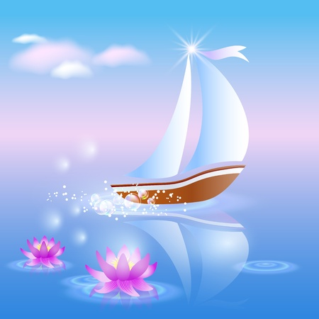 magic lily: Sailing boat and violet lilies against a pink dawn