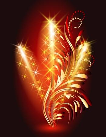 Firework and golden ornament Vector