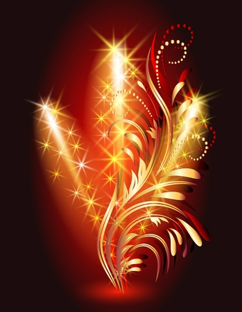 Firework and golden ornament Vector