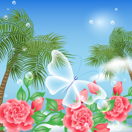 Landscape with palm trees, flowers and transparent butterfly   Vector