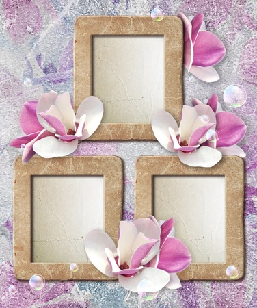 Old grunge photo frame with magnolia and paper for letter   photo