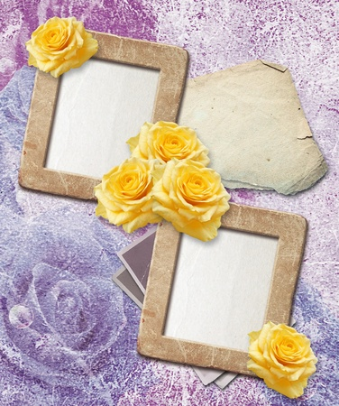Old grunge photo frames with  yellow rose  and paper for letter   photo