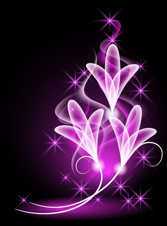 Glowing background with transparent flowers and stars 矢量图像