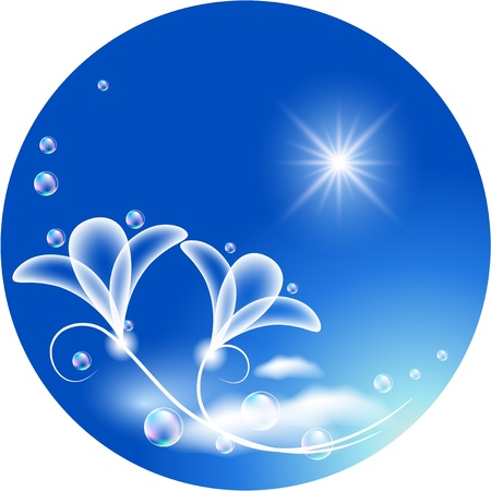 Round background with transparent flowers and bubbles Illustration