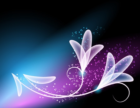 Glowing background with transparent flowers and stars Illustration