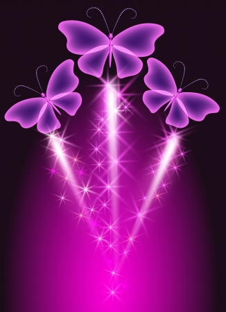Firework with violet  butterflies   Vector