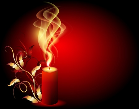 Burning candle with smoke and golden ornament