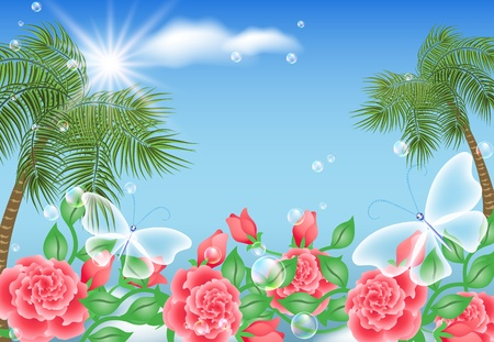 Landscape with palm trees, flowers and transparent butterflies Stock Vector - 13035669