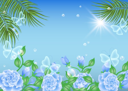 Landscape with palm, flowers, butterflies and sun Vector