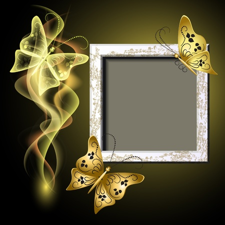 Background with grungy photo frame, butterflies and smoke for inserting text and photo Vector