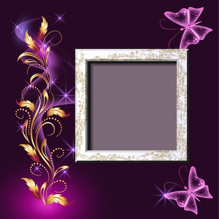 Background with grungy photo frame and butterflies for inserting text and photo Vector