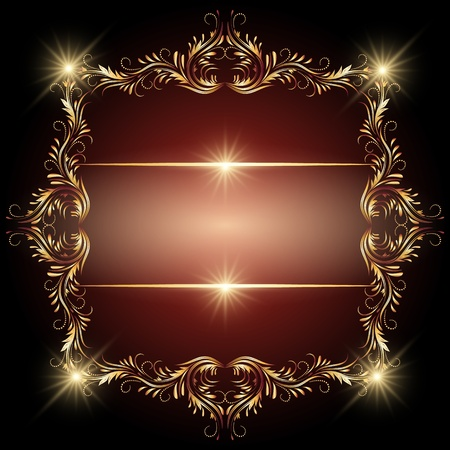 Background with glowing stars and golden ornament Vector