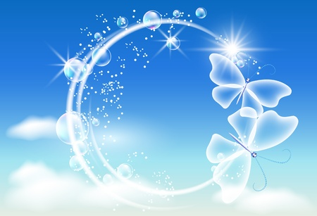 Sky, bubbles  and  butterflies  Symbol of ecology clean air