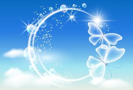 Sky, bubbels en vlinders Symbool van de ecologie schone lucht Vector Illustratie