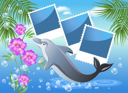 Palm, dolphin and photo frames Vector