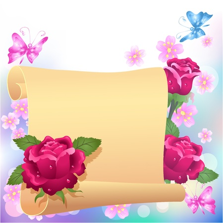 Folded parchment for your text and roses Stock Vector - 13035384