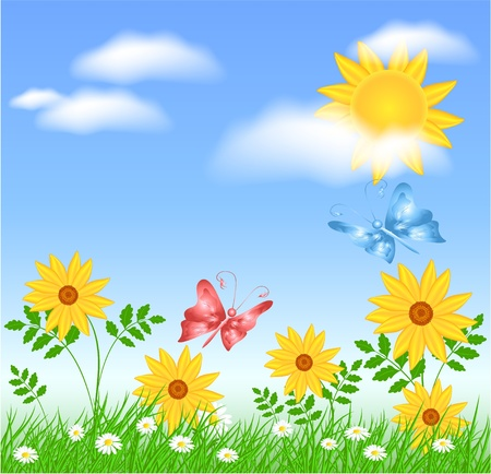 Meadow flowers, sun, clouds and butterflies Stock Vector - 13120089