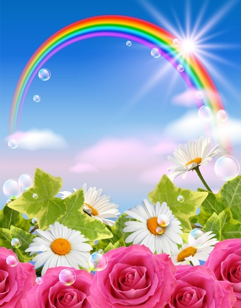 Sky, flowers, clouds, rainbow  and  sunshine photo
