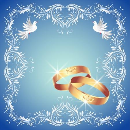 Tarjeta con anillos de boda y dos palomas en marco ornamento