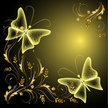 Background with butterflies and golden ornament Stock Vector - 13239248