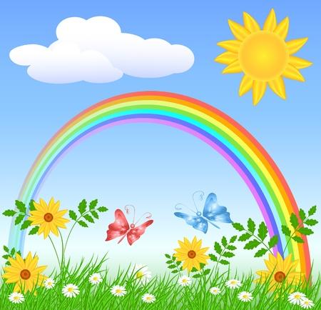 rainbow sky: Meadow flowers, rainbow, sun and blue sky