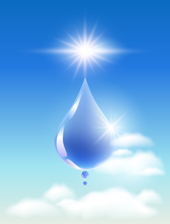 Drop of water in the clouds and sunshine  Symbol of clean  water  Vector