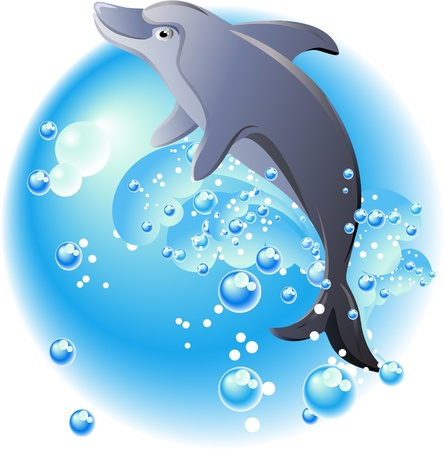 Dolphin, bubbles and blue waves  Vector