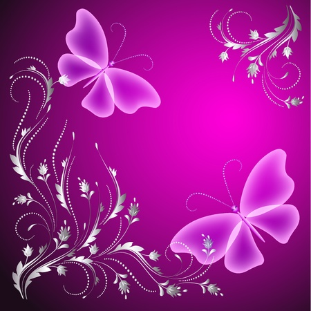 Background with butterflies and golden ornament Vector