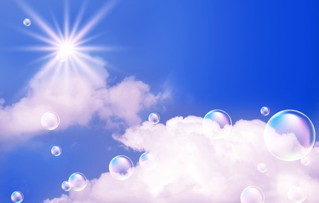 Sky, clouds, bubbles  and  sunshine  photo