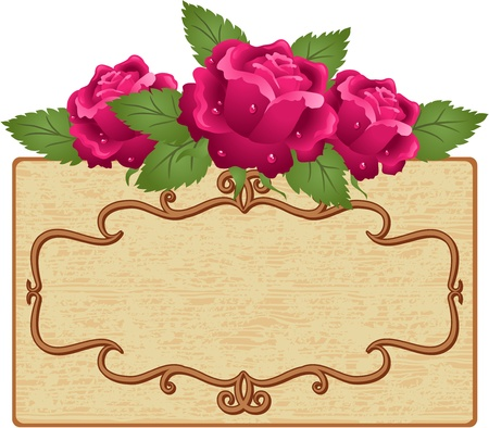 Abstract background with frame and roses Stock Vector - 13419090