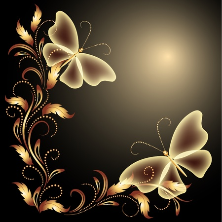 Background with butterflies and golden ornament