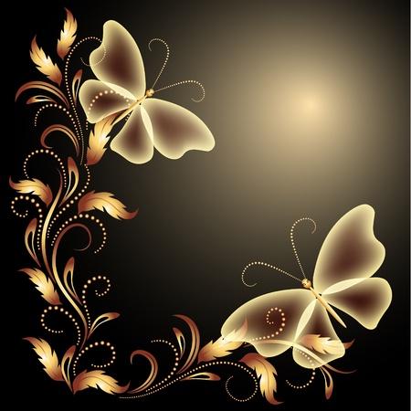 butterfly abstract: Fondo con las mariposas y los ornamentos de oro