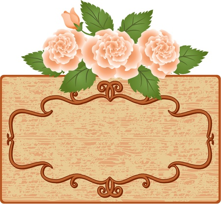 Abstract background with frame and roses Stock Vector - 13531812