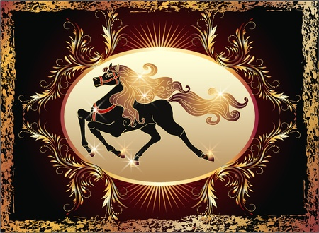Galloping black horse with golden mane and luxurious ornament Vector