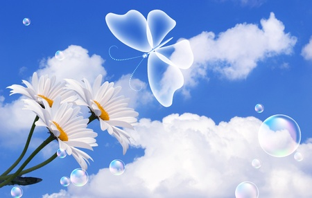 flecks: Butterfly, clouds and bubbles   Stock Photo