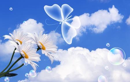 Schmetterling, Wolken und Blasen