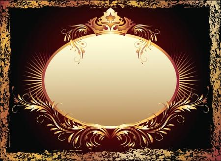 Achtergrond met luxe koper ornament en de kroon