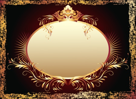 luxurious background: Background with luxurious copper ornament and crown Illustration