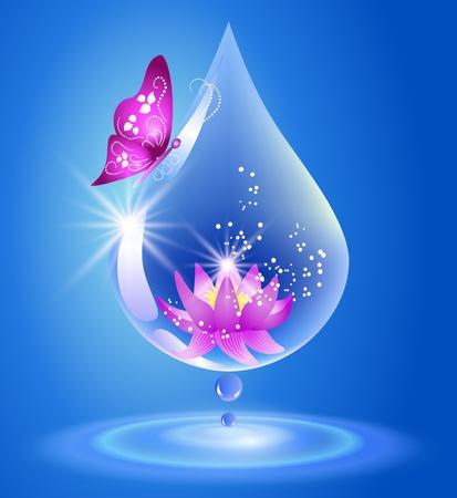 워터 드롭 및 깨끗한 물 백합 기호 일러스트