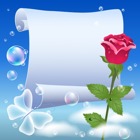 Parchment and rose in the sky Vector
