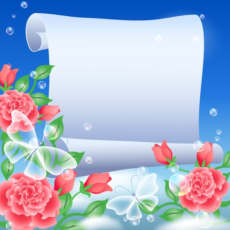 Parchment and roses in the sky Vector
