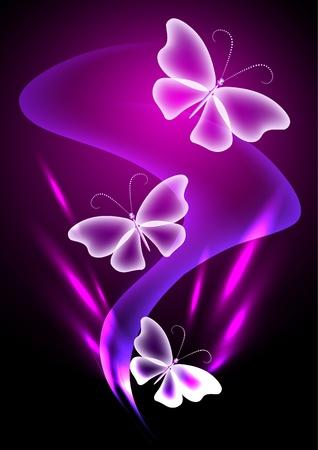 Gloeiende achtergrond met transparante vlinder Stock Illustratie