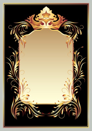 Background with luxurious golden ornament and crown