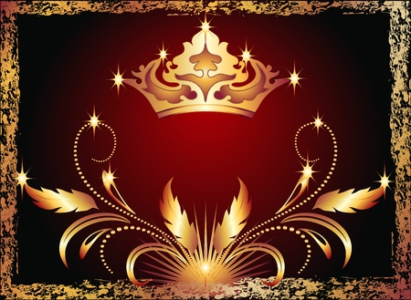 Background with luxurious copper ornament and crown Illustration